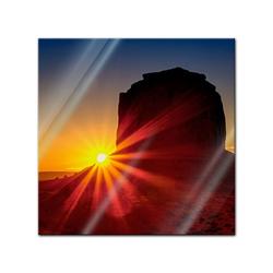 Bilderdepot24 Glasbild, Glasbild - Panorama Sunrise - Panorama Sonnenaufgang 50 cm x 50 cm