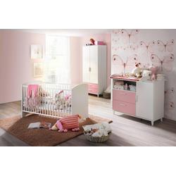 Babyzimmer-Komplettset Nizza, (Set, 3-tlg), Bett + Wickelkommode + 2 trg. Schrank