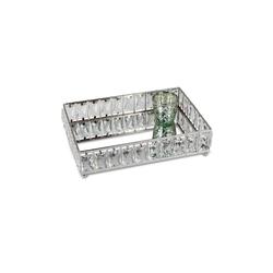 formano Dekotablett Tablett Silber Spiegel Chrom Kristall (1 Stück)