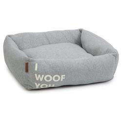 Beeztees Hundebett I Woof You grau, Maße: 65 x 60 x 20 cm