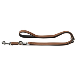Hunter Hundeleine Canadian aus Elchleder, Verstellbare Leine 15 mm breit, Länge 2 m, cognac/schwarz
