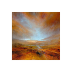Artland Glasbild Herbstliches Licht, Berge (1 Stück) 30 cm x 30 cm x 1,1 cm