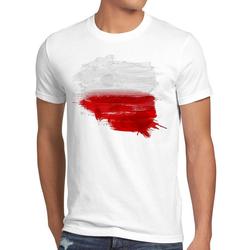 style3 Print-Shirt Herren T-Shirt Flagge Polen Fußball Sport Polska WM EM Fahne weiß L