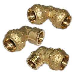 PE Rohr Verschraubung Messing Winkel 20 - 40 mm AG / IG, Verschraubung: 40 mm x 1 1/4 IG Winkel 90°