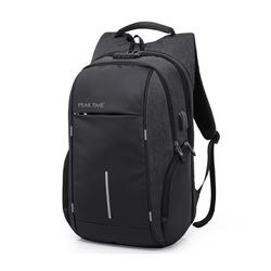 PEAK TIME Tagesrucksack PT-304, Cityrucksack mit praktischen Seitentaschen schwarz