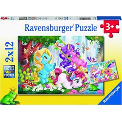 Ravensburger Puzzle Magische Einhornwelt, 2er Set Puzzle, je 12 Teile, Puzzleteile