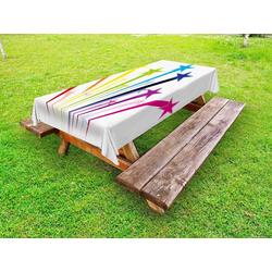 Abakuhaus Tischdecke dekorative waschbare Picknick-Tischdecke, Bunt Regenbogen-Shooting Stars 145 cm x 210 cm