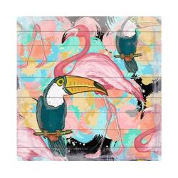 QUEENCE Holzbild Flamingo und Tucan, 40x40 cm Echtholz bunt