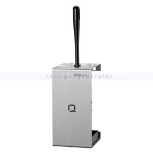 Qbic-line Toilettenbürstenhalter Edelstahl 2 offene Seiten schwarze Nylonbürste, 3 Punktbefestigung