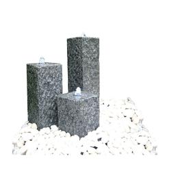 Dehner Gartenbrunnen Nizza mit LED, 77 x 56 x 35 cm, Granit, grau