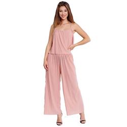 Egomaxx Jumpsuit 3239 Damen Jumpsuit Chiffon plissee rosa L-XL
