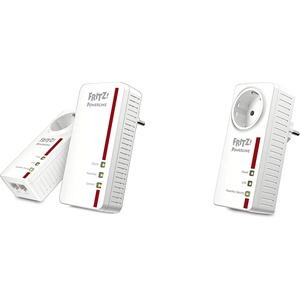 AVM Fritz Powerline 1260E/1220E WLAN Set (WLAN-Access Point) weiß & AVM FRITZ!Powerline 1220E Adapter (1.200 MBit/s, 2 x Gigabit-LAN, ideal für NAS-Anwendungen und HD-Streaming)