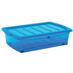 KIS Spinning Box Unterbettbox M, Unterbettbox mit Rollen, Farbe: blau-transluzent