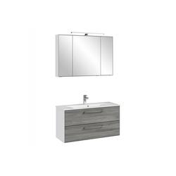 Lomadox Waschtisch-Set FES-3065-66, (Spar-Set), Waschtisch & Spiegel Möbel in weiß matt & Sangallo grau quer Nb. - B/H/T: 102,4/200/44,7cm