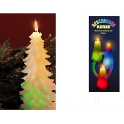 JOKA international LED-Kerze Regenbogenkerze Tannenbaum 3er Set Höhe 12 cm Ø 7,0 cm