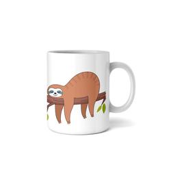 Kreative Feder Tasse, Tasse mit Motiv, Keramiktasse, fasst ca. 300ml, Kaffe, Tee, Bürotasse, Büro, Faultier