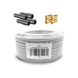 ARLI 10m ARLI Koaxialkabel max. 135dB + 4x F-Stecker vergoldet + 4x Gummitülle TV-Kabel, (1000 cm), 10 m TV Sat Koax Kabel Set