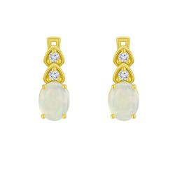 Goldene Hängeohrringe mit Opalen und Zirkonia Glory