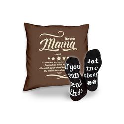 Soreso® Dekokissen Kissen Beste Mama weil & Sprüche Socken Sleep, Muttertagsgeschenk Mama Muttertag braun