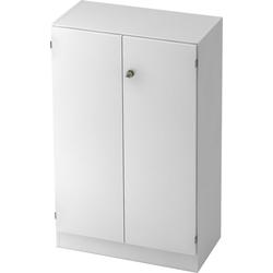 bümö Aktenschrank OM-6550 Büroschrank, Flügeltürenschrank für Ordner, Akten & Bücher mit 3 Ordnerhöhen - Dekor: Weiß/Weiß weiß