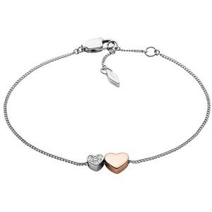 Fossil Armband Herzen, JF03095998, mit Glassteinen silberfarben