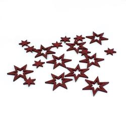 18 Holz Sterne Holzdeko Weihnachtsdeko Tischdeko Weihnachten - weinrot
