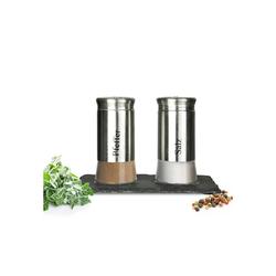 Sendez Salz- / Pfefferstreuer Salz- und Pfefferstreuer Set auf Schierplatte 3-tlg. Menage Pfefferstreuer Salzstreuer