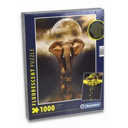 Clementoni® Steckpuzzle Puzzle - Der Elefant (fluoreszierend, 1000 Teile), 1000 Puzzleteile