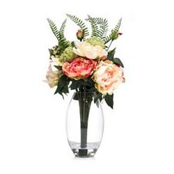 ABELLA Flora künstl. Blumenstrauß Pfingstrosen Glasvase Höhe ca. 50cm