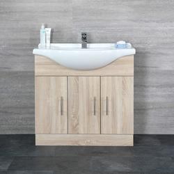 Waschtischunterschrank mit Waschtisch 850mm - 3 Türen & 2 Schubladen, von Hudson Reed