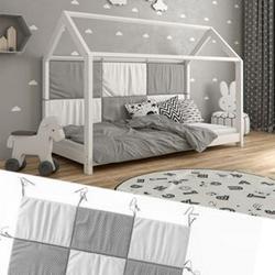 Hausbett Kinderbett Bettrückwand Wiki 140x70 Grau-Weiß