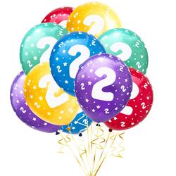 Luftballon Set Zahl 2 für 2. Geburtstag Kindergeburtstag Party 10 Deko Ballons Geburtstagsdeko bunt