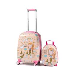 COSTWAY Kinderkoffer 2tlg Kinderkoffer, mit Rucksack rosa 22 cm x 51 cm x 33 cm