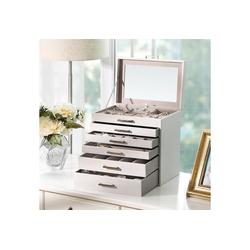 SONGMICS Schmuckkoffer JBC138, Schmuckkasten mit 6 Ebenen, mit Schubladen und Spiegel, weiß