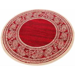 Teppich Maite, my home, rund, Höhe 8 mm, mit Bordüre rot Ø 140 cm x 8 mm