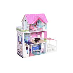 HOMCOM Puppenhaus Puppenhaus mit 3 Etagen