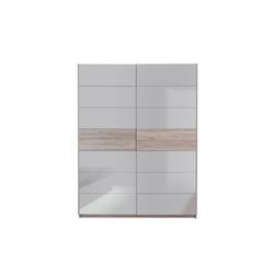 Forte Schwebetürenschrank Rondino in weiß hochglänzend/Sandeiche-Optik
