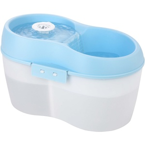 Lillylin CH010-B Trinkbrunnen mit integrierter Zahnpflege für Katzen und kleinen Hunden, weiß-Aqua