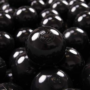 KiddyMoon 300 ∅ 7Cm Kinder Bälle Spielbälle Für Bällebad Baby Einfarbige Plastikbälle Made In EU, Schwarz