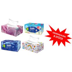 Tempo XXL Light Box Taschentücher Box, 3-lagig, Waschmaschinenfeste Papiertaschentücher aus 100% Tempo Qualität, 1 Großpackung = 8 Boxen à 120 Tücher