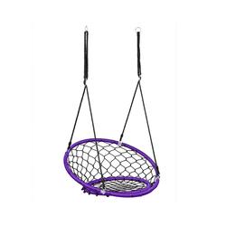 COSTWAY Nestschaukel Hängeschaukel, Baumschaukel, Tellerschaukel, 100-160cm Seil, 150kg Tragkraft lila