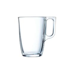 Arcoroc Becher Voluto, Glas, Bockbecher Kaffeebecher Kaffeetasse 320ml Glas transparent 6 Stück Ø 7.8 cm x 11.1 cm