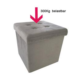 Natsen Sitzhocker, faltbar Sitzhocker mit Stauraum Aufbewahrungsbox Samt 38 x 38 x 38 cm (Hell Grau)