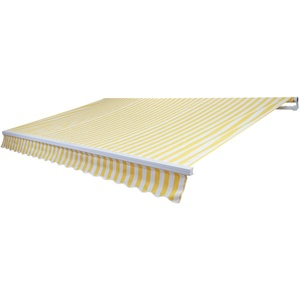 Mendler Alu-Markise T791, Gelenkarmmarkise Sonnenschutz 4,5x3m ~ Polyester Gelb/Weiß