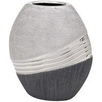 Dekohelden24 Edle Moderne Deko Designer Keramik Vase in Silber-grau oval, 20 cm