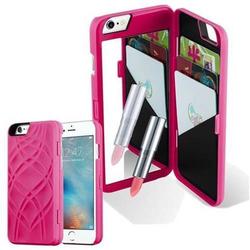 Cadorabo TPU Hard Cover für Apple iPhone 6 PLUS / iPhone 6S PLUS mit Muster, Spiegel und 3 Kartenfächer in TÜRKIS