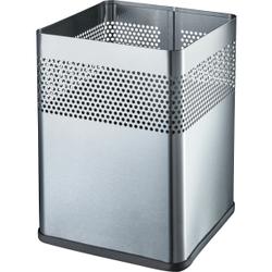 """helit """"the dot"""" Edelstahl-Papierkorb, 15 Liter, Quadratischer Papierkorb in besonders schönem Design mit Lochdekor, Farbe: edelstahl"""