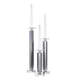 Casa Padrino Kristallglas Kerzenhalter / Kerzenständer 3er Set Grau / Silber - Luxus Deko