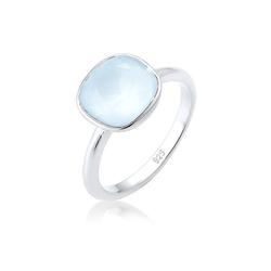 Elli Fingerring Kristalle 925 Silber Geschenkidee, Edelstein Ring blau 56