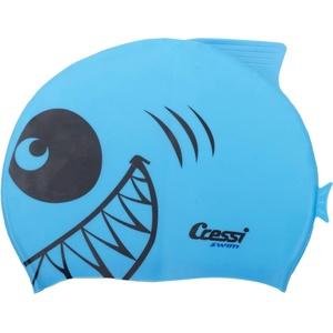 Cressi Kinder Silicone Kids Cap Shark Bademütze/schwimmkappe, Hellblau, Uni